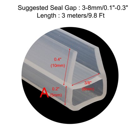 U Type Frameless Shower Door Bottom Seal for 3/8 inch Glass, 9.8 Ft Length - image 3 of 7