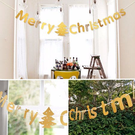 DIY Merry Christmas Hanging Bunting Sign Garland Banner String Party Flag Home Office Holiday Decoration ()