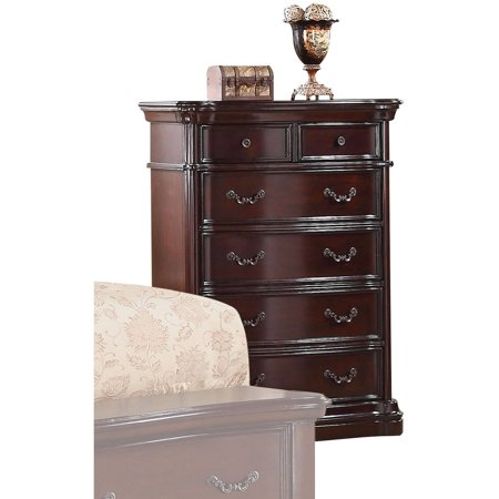 Image of 20637 Veradisia Chest with 6 Drawers Shaped Moldings Intricate Scrollwork and Decorative Metal Hardware in Dark Cherry Finish