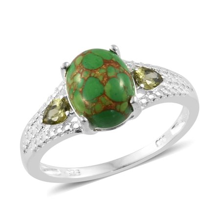 925 Sterling Silver Oval Green Turquoise Peridot Cubic Zirconia CZ Fashion Ring for Women
