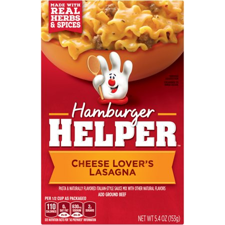 Hamburger Helper Cheese Lover's Lasagna Hamburger Helper 5.4 Oz Cheese Lover's Lasagna Hamburger Helper is made with REAL herbs and spices for the flavors you love most. Our products are made with NO artificial flavors or colors from artificial sources
