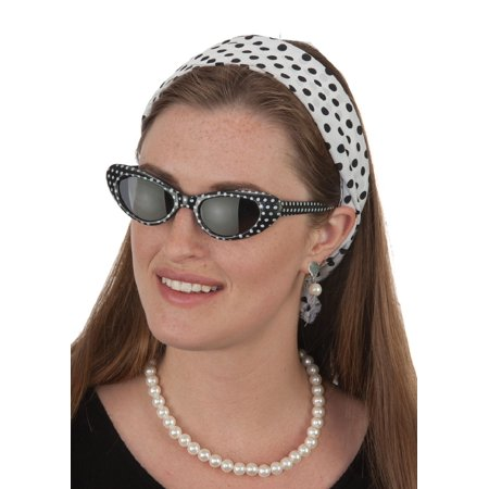 Asian Eye Glasses Costume (Bobby Soxer Kit 50s Sock Hop Cat Eye Glasses Polka Dot Headband Necklace)