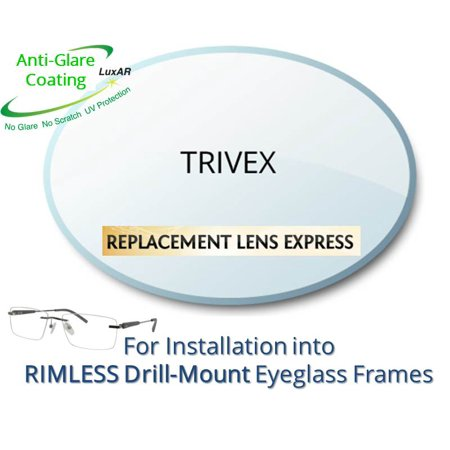 Single Vision Trivex Prescription Eyeglass Lenses, Left and Right (One Pair), for installation into your own Rimless (drill-mounted) Frames, Anti-Scratch Coating and Anti-Glare Coating (Drill Mount Eyeglasses)