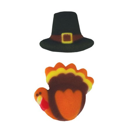 Turkey And Pilgrims Hat Sugar Decorations Toppers Cupcake Cake Cookies Thanksgiving Favors Party 12 - Pilgrim Decorations