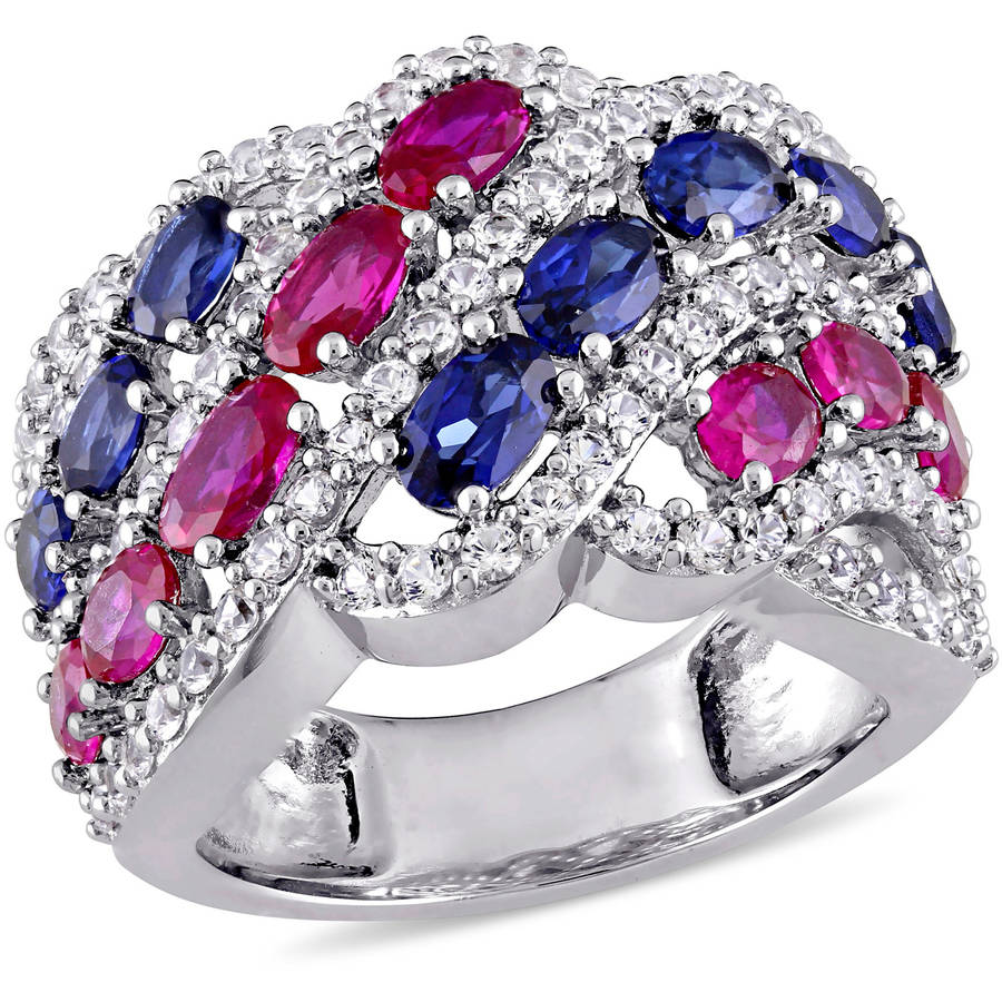 Tangelo 6-1 2 Carat T.G.W. Oval-Cut Created Ruby with Created Blue and White Sapphire Sterling Silver Braided Ring by Tangelo