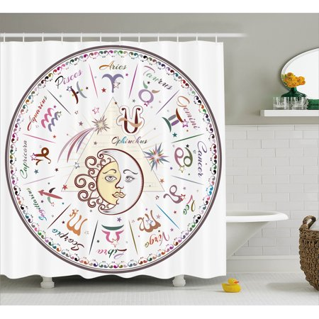 Zodiac Decor Shower Curtain Western Chart With All Signs Aries Virgo Leo Taurus Libra Mystique Fate Calendar Fabric Bathroom Set With Hooks 69w X