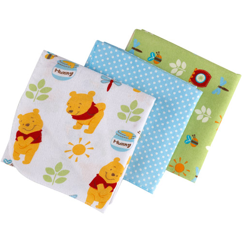 Disney - Baby Bedding Pooh Sunny Day Flannel Blanket, 3pc