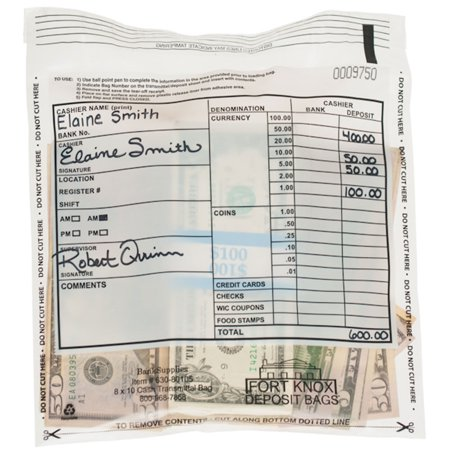 Cash Transmittal Bag - 8W x 10H - Tamper Evident - Case of 500