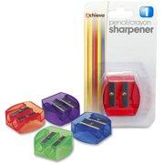 Officemate Dual-purpose Pencil & Crayon Sharpener (OIC30230), Colors may vary