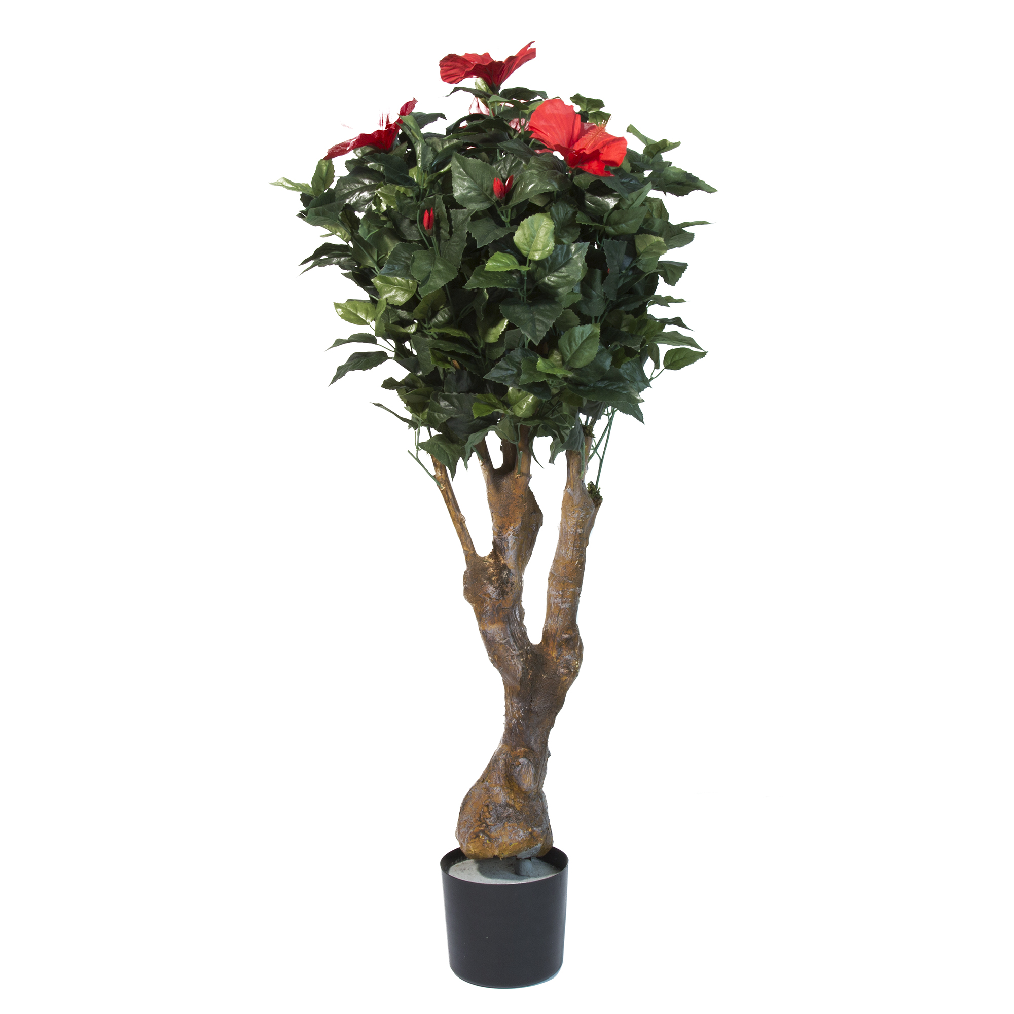 "48"" hibiscus artificial tree with flowers, faux plantspure"