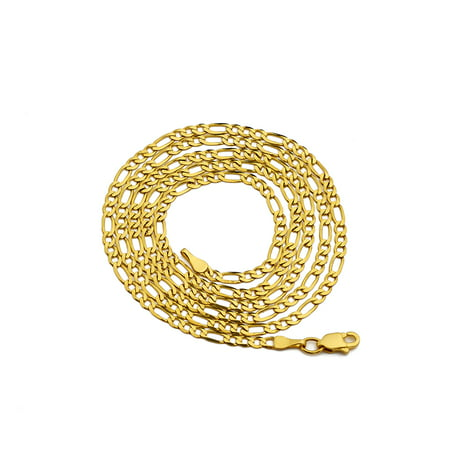 14K Yellow Gold 2mm Solid Figaro Chain Necklace (16 inches) 2mm Figaro Link Chain