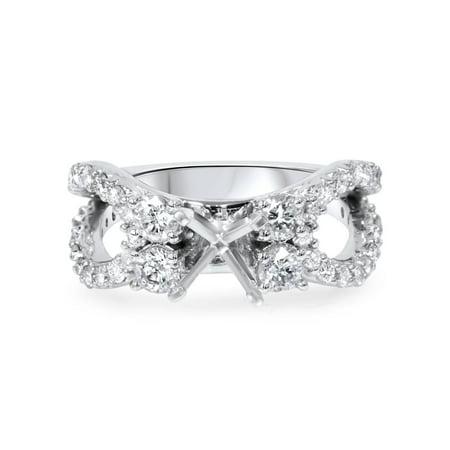 (1 1/5Ct Diamond Engagement Ring Setting 14K White Gold Semi Mount Split Shank)
