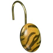 carnation home fashions phpa-tig/m tiger resin shower curtain hooks multicolor