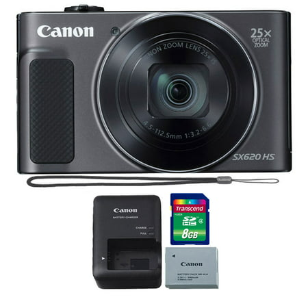 Canon PowerShot SX620 HS 20.2MP 25X Zoom Wifi / NFC  Full HD 1080p Digital Camera  (Black) with 8GB Memory Card Canon Powershot Sd1100 Digital Camera