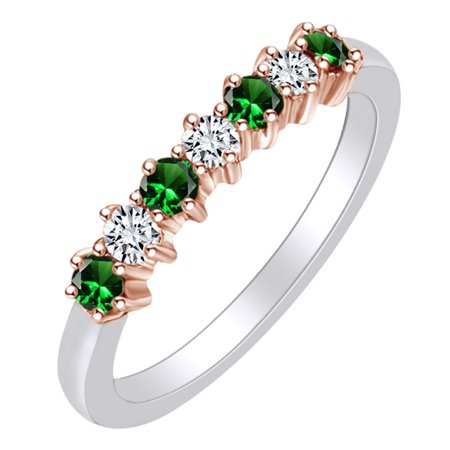 0.4 Carat (Ctw) Simulated Emerald & White Natural Diamond Eternity Wedding Band Ring In 14k Solid White Gold Ring Size-7