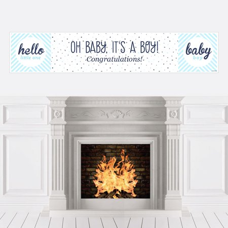 Hello Little One - Blue and Silver - Boy Baby Shower Decorations Party Banner