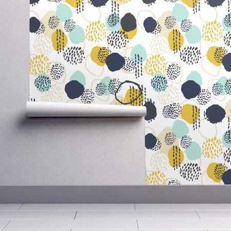 Peel-and-Stick Removable Wallpaper Painted Mint And Mustard Baby Abstract