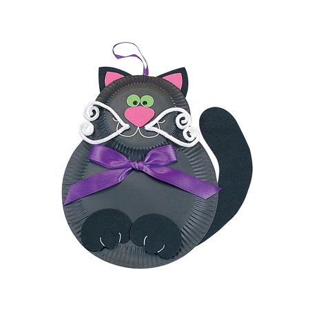 Fun Express - Black Cat Paper Plate Craft Kit for Halloween - Craft Kits - Hanging Decor Craft Kits - Paper Plate Craft Kits - Halloween - 12 Pieces (Preschool Halloween Black Cat Craft)