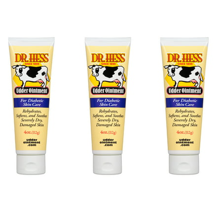 Pack of 3 - Udder Ointment Skin Care By Dr. Hess  13 Natural, Non-Toxic Ingredients  Pain & Itching Relief Salve  Moisturizing Cream For Healthy Skin  Essential Care For Diabetic Skin -  Dr. Hess Udder