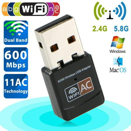 Duplex Network Usb - TSV 600Mbps Mini Wireless Dual Band 2.4/5GHz USB Wifi Adapter LAN Antenna Network Adapter 802.11ac/a/b/g/n