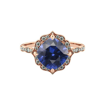 2.25 ctw Lab Created Blue Sapphire Ring with Diamonds 14K Rose Gold Flower Leaves Halo