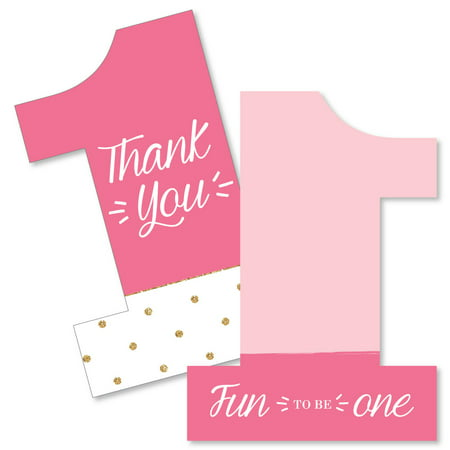1st Birthday Girl - Fun to be One - Shaped Thank You Cards - First Birthday Party Thank You Note Cards with Envelopes -](1st Birthday Thank You Cards)