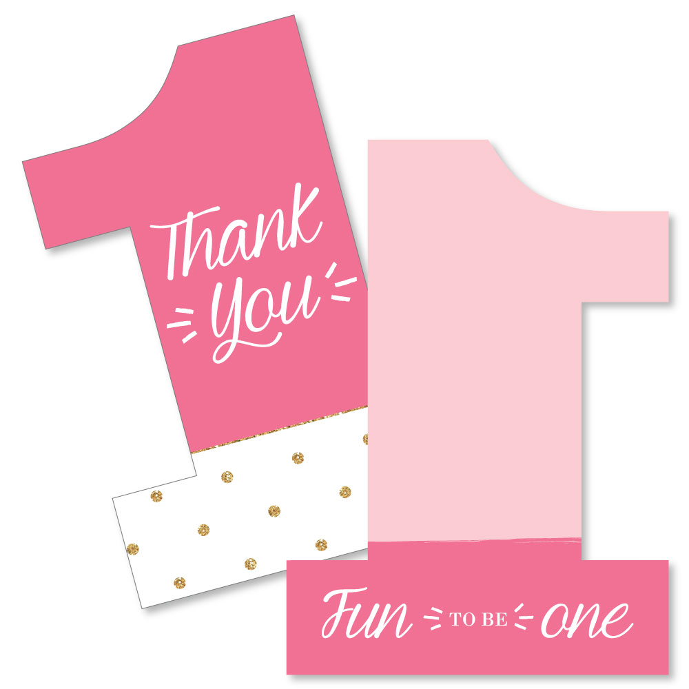 1st Birthday Girl - Fun to be One - Shaped Thank You Cards - First Birthday Party Thank You Note Cards with Envelopes -