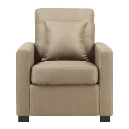 Manhattan Upholstered Arm Chair with Accent Pillow, Wheat ()