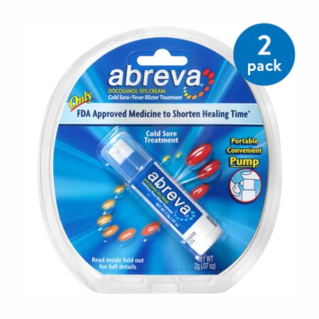 (2 Pack) Abreva Docosanol 10% Cream Pump, FDA Approved Treatment for Cold  Sore/Fever Blister, 2 grams