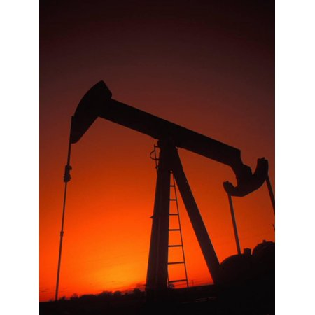 Silhouette of Oil Pump Jack, Tulsa, Oklahoma Print Wall Art By Bill (Jack O-lantern Silhouettes)