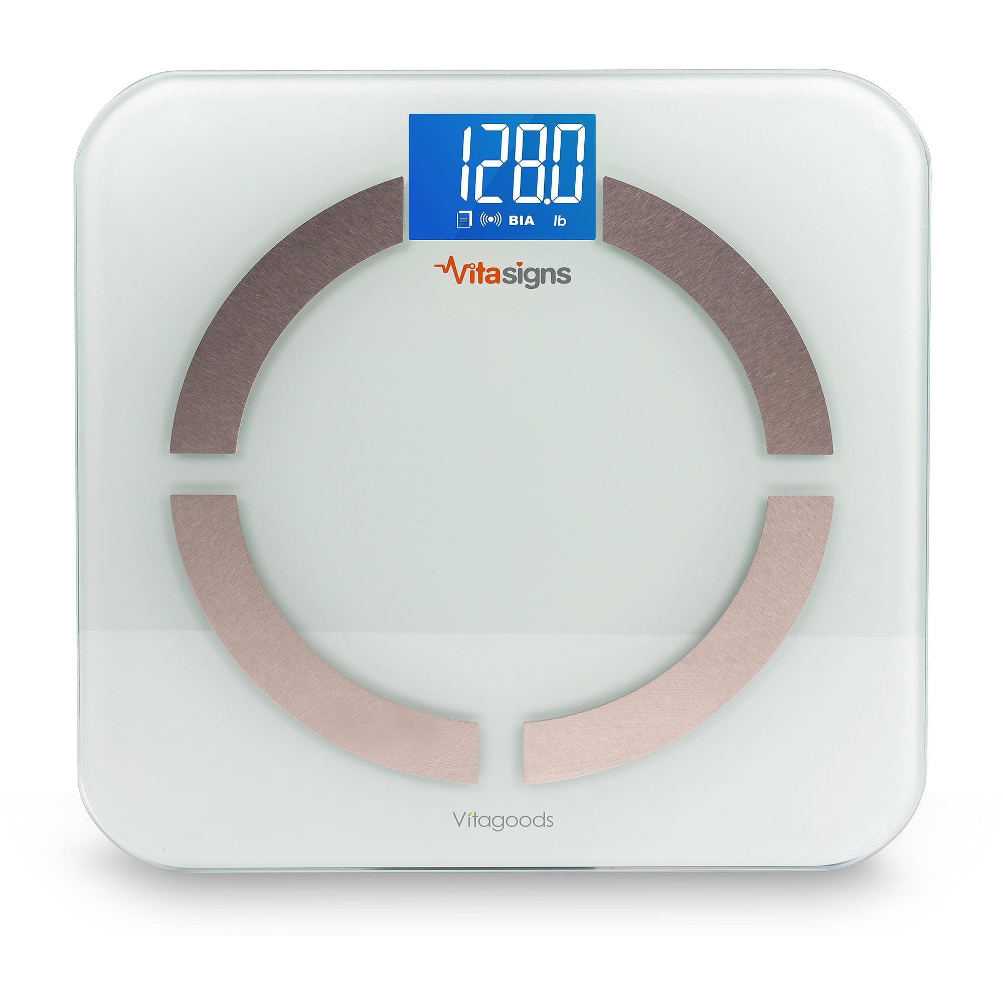 Vitasigns Bluetooth Digital Body Analyzer Scale, Black Glass - White