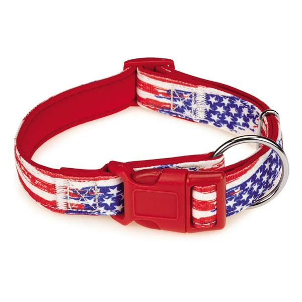 Casual Canine Neoprene Collar 6-10in Red Flag