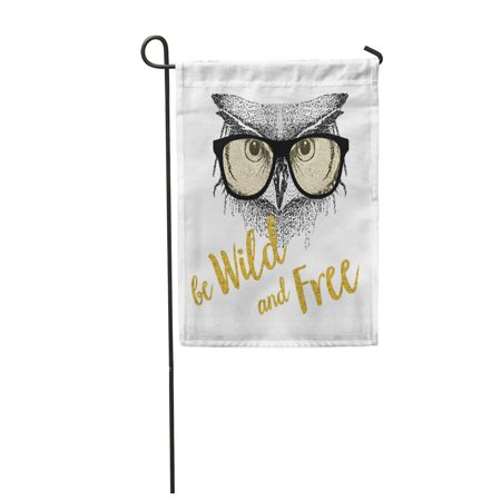 SIDONKU Doodle Owl Glasses Cute Face Beautiful Garden Flag Decorative Flag House Banner 12x18 inch (Beautiful Decorative Glass)
