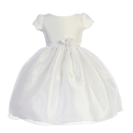 Little Girls White Dupioni Organza Floral Bow Flower Girl Dress 4](Little Girls White Dresses)