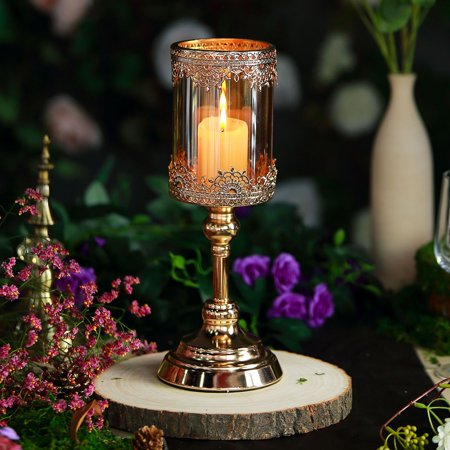 Lace Hurricane - Efavormart Gold Lace Design Amber Glass Hurricane Candle Holder Table Centerpiece