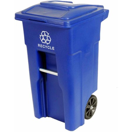 Toter 32 Gal. Blue Recycling Container with Wheels and Lid