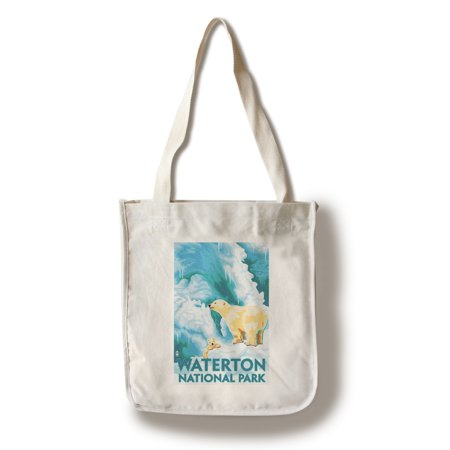 Waterton National Park, Canada - Polar Bear & Cub - Lantern Press Poster (100% Cotton Tote Bag - Reusable)