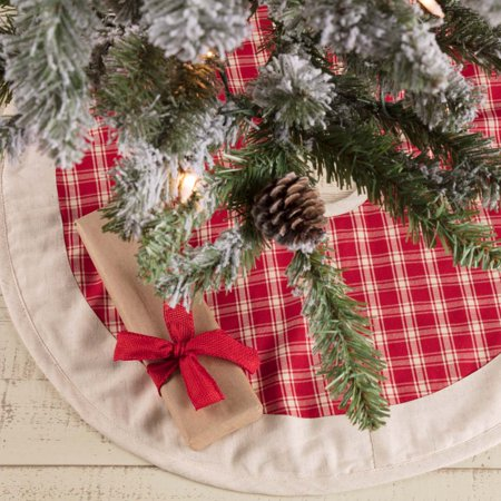 Christmas Red Farmhouse Christmas Decor Red Plaid Cotton Flax Check 21