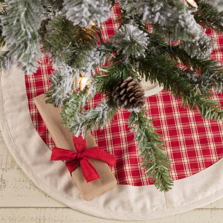 Christmas Red Farmhouse Christmas Decor Red Plaid Cotton Flax Check 21