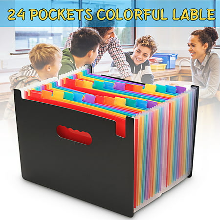 Basic Filing Pocket - Expanding File, 24 Pockets, Black, A4 Size Portable Rainbow A4 File Organiser Self Standing Accordion Document Filing Box High Capacity Storage Bag-24 Pockets Caveen Expanding File