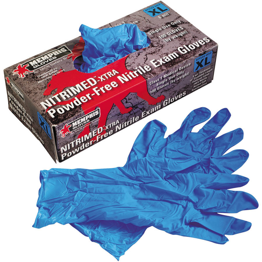 Memphis Nitri-Med-Xtra XL Poweder-Free Nitrile Exam Gloves, Blue, 100 count