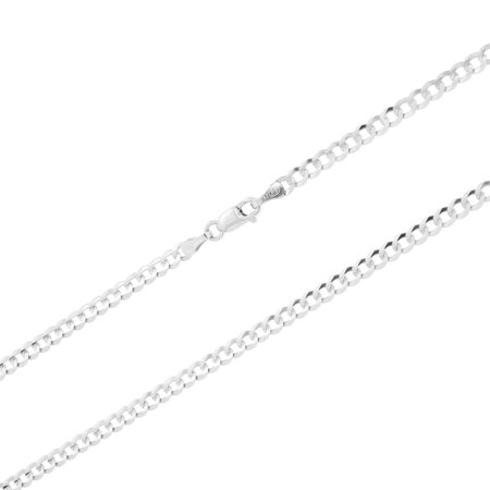 14k White Gold Solid Mens Womens 3mm Cuban Curb Chain Pendant Necklace, 16