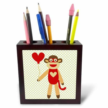 Monkey Pen Holder (3dRose Sock Monkey With Heart Balloon - Adorable Animal Art, Tile Pen Holder, 5-inch )