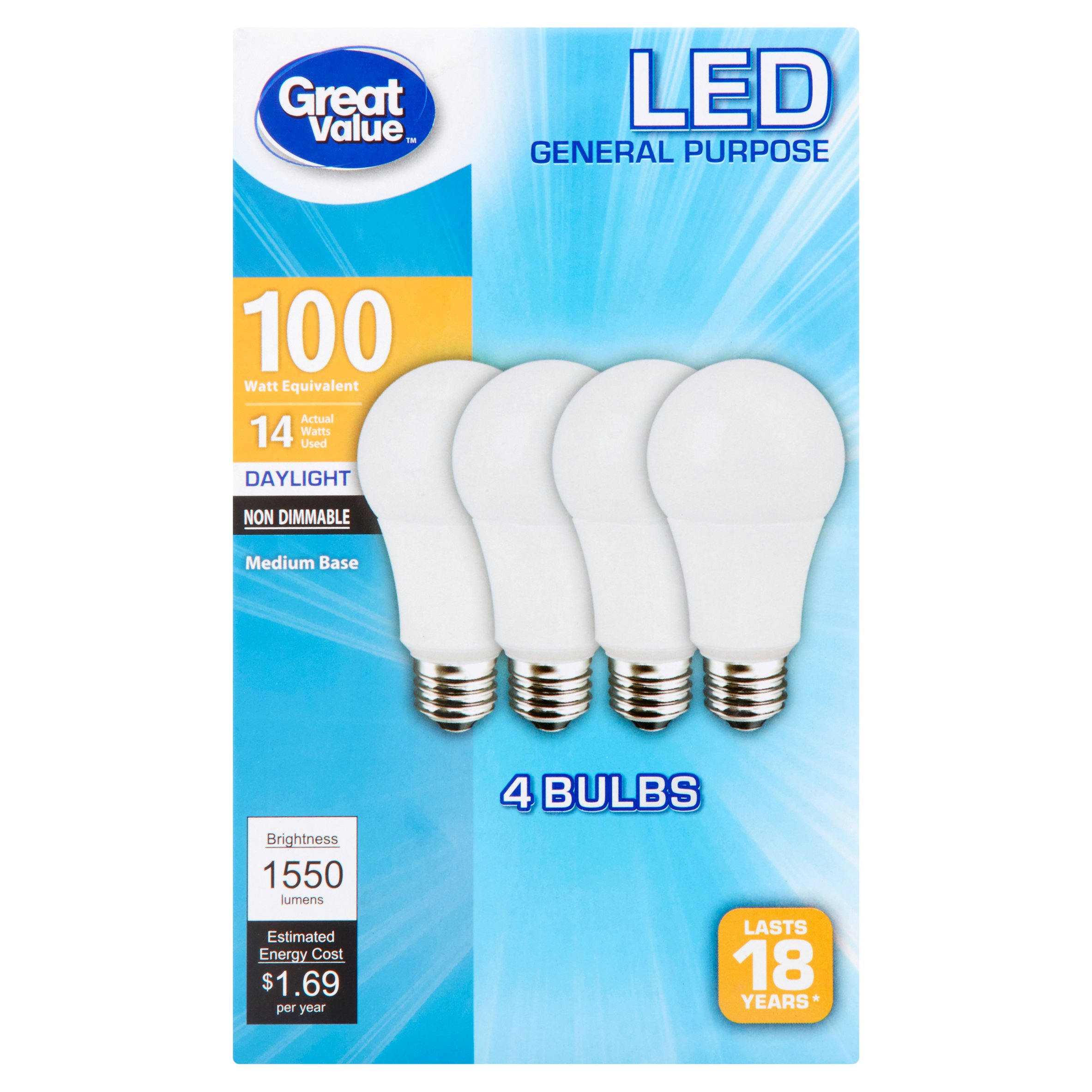 great value led light bulbs 14 w 100w equivalent daylight 4