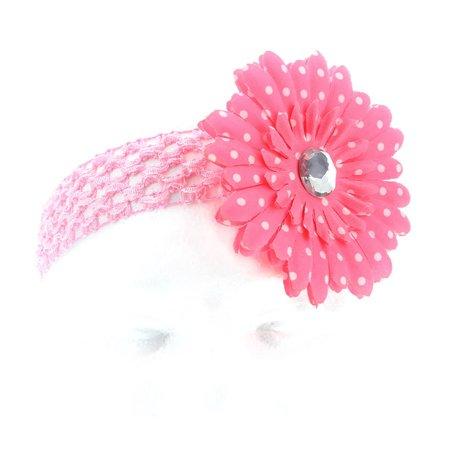Hair Accessory Pink Polka Dot Daisy Flower Crochet Headband Flower Crochet Headband