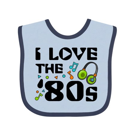 Inktastic I Love the '80s-musical notes Baby Bib Unisex, Blue and Navy