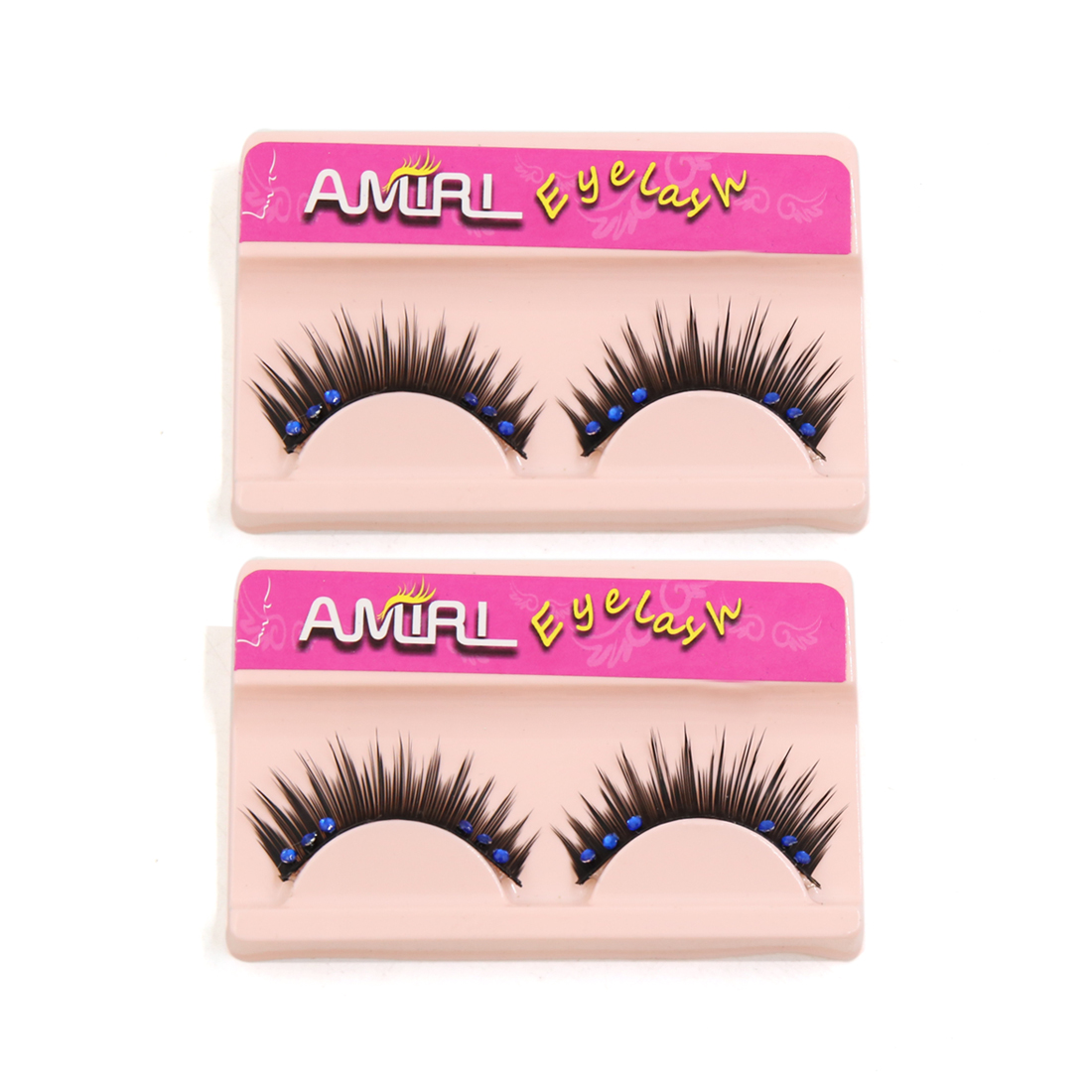 2 Pairs Black False Eyelashes Eye Rhinestones Decor for Masquerade Party Makeup