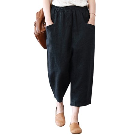 Womens Pants Casual Loose Elastic Waist Two Pockets Pure Color Haren