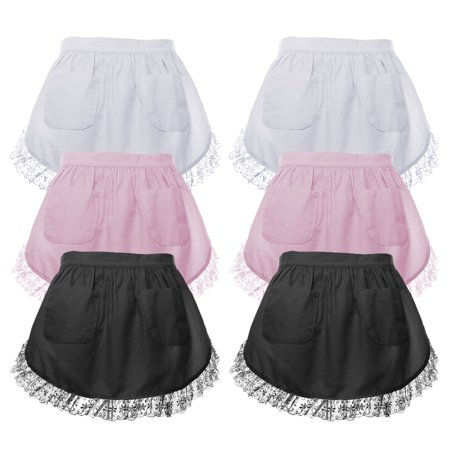 Aspire 6 Pcs Waist Apron For Lady Lace Cotton Kitchen Half Apron With Two Pockets Maid