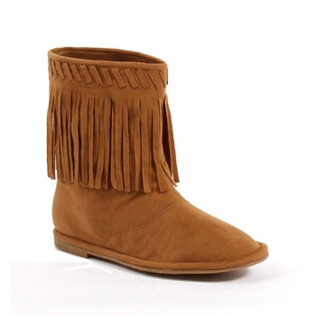 Ellie Shoes E-101-Meeko Flat Children Moccasin Boot with Fringe Tan / S